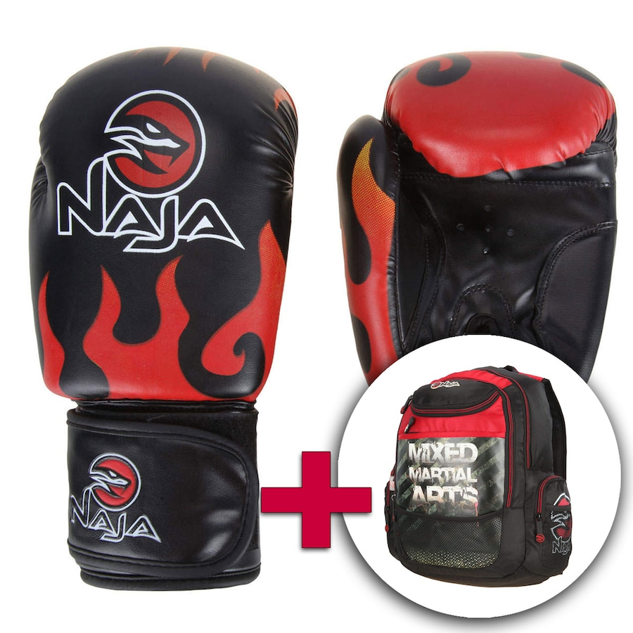 cd79593b8 Kit de Boxe Luva e Mochila Naja Fire 12OZ