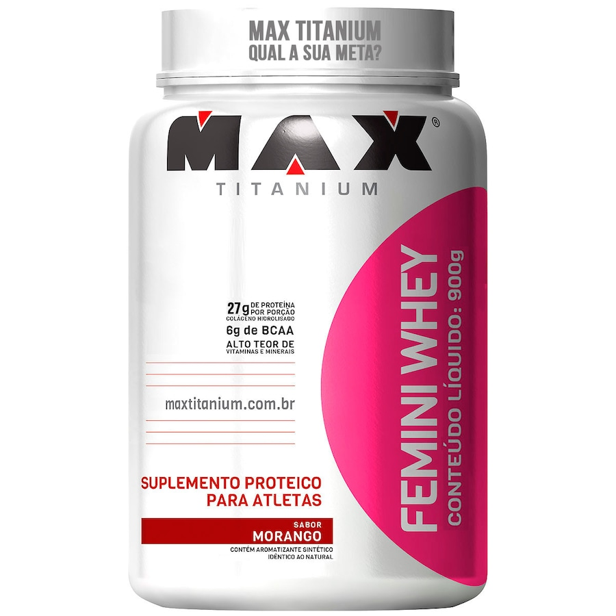Whey Protein Max Titanium Morango Femini - 900g