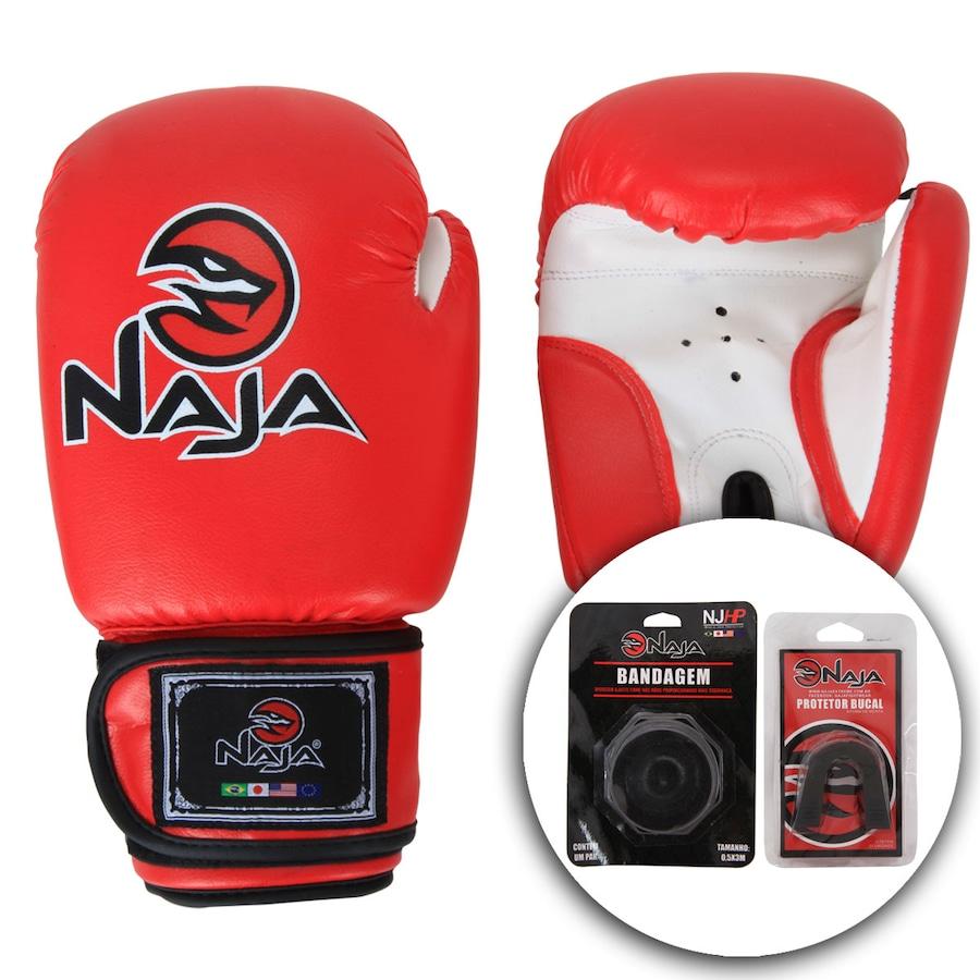 f86d7d122 Kit de Boxe Naja Vermelho com Luva 14 OZ Bandagem e Proteto