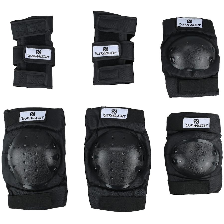 Kit Proteção Long Jump Bob Burnquist com 1 Par de: Munhequeiras + Joelheiras + Cotoveleiras - Adulto