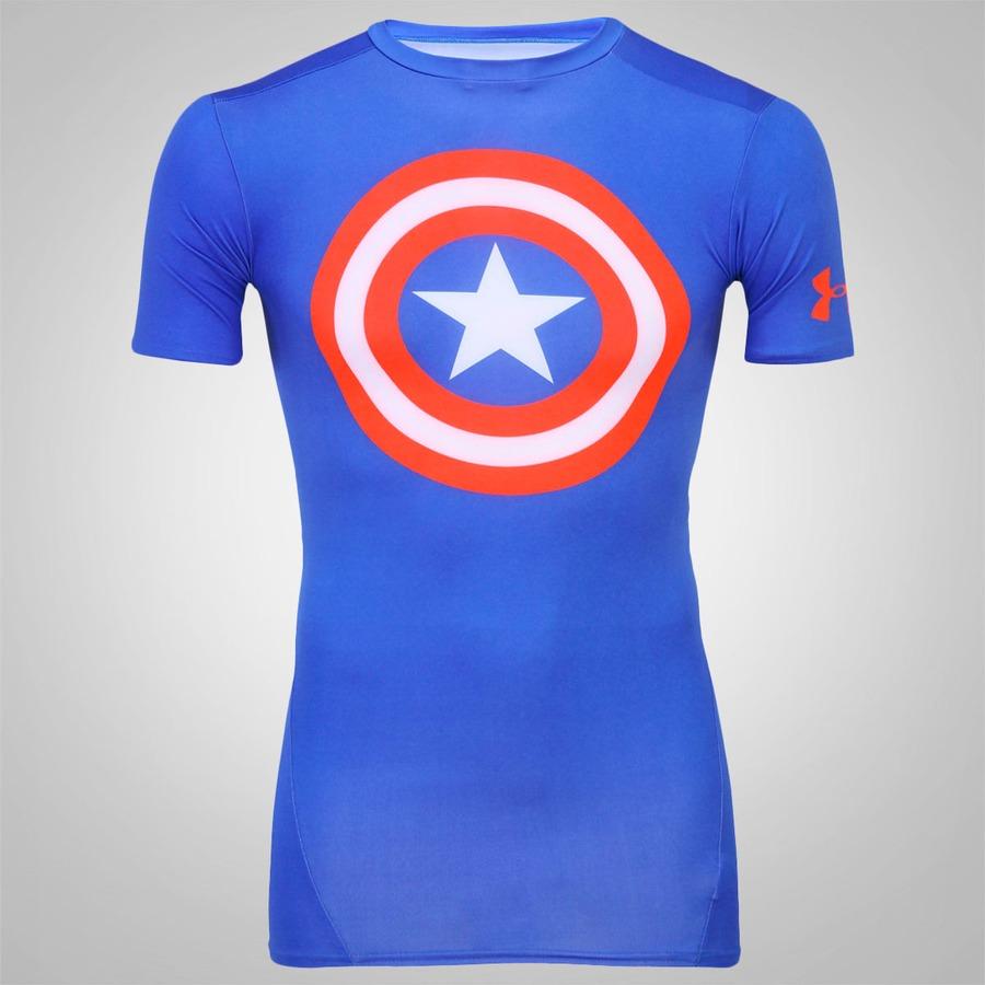 64e48e0ce75b7 Camiseta Compressão Under Armour Capitão América Masculina