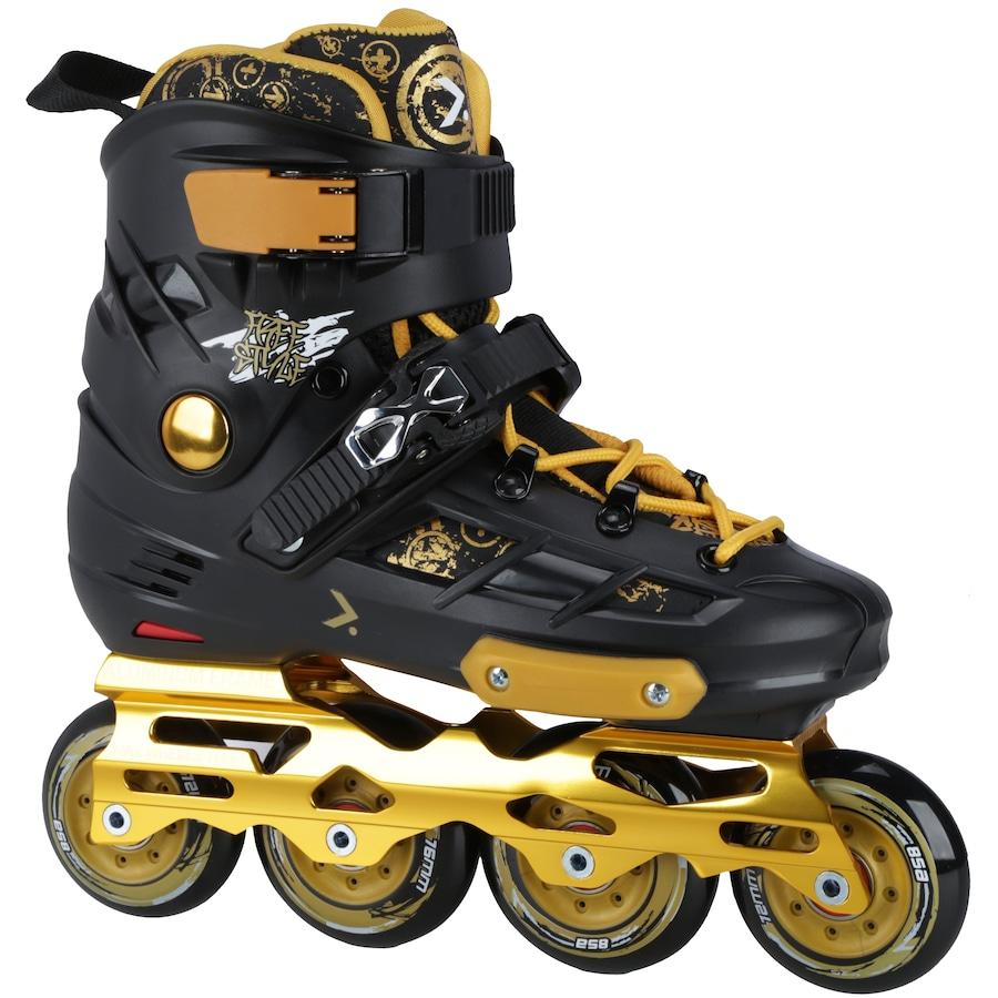 Patins Oxer Freestyle - In Line - Freestyle   Slalom - ABEC 9 - Base de  Alumínio d10324edb83
