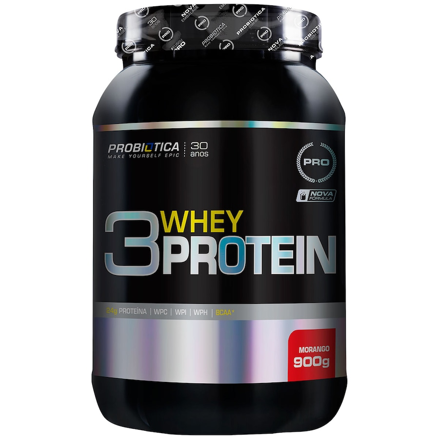 Whey Protein Probiótica Morango 3W - 900g