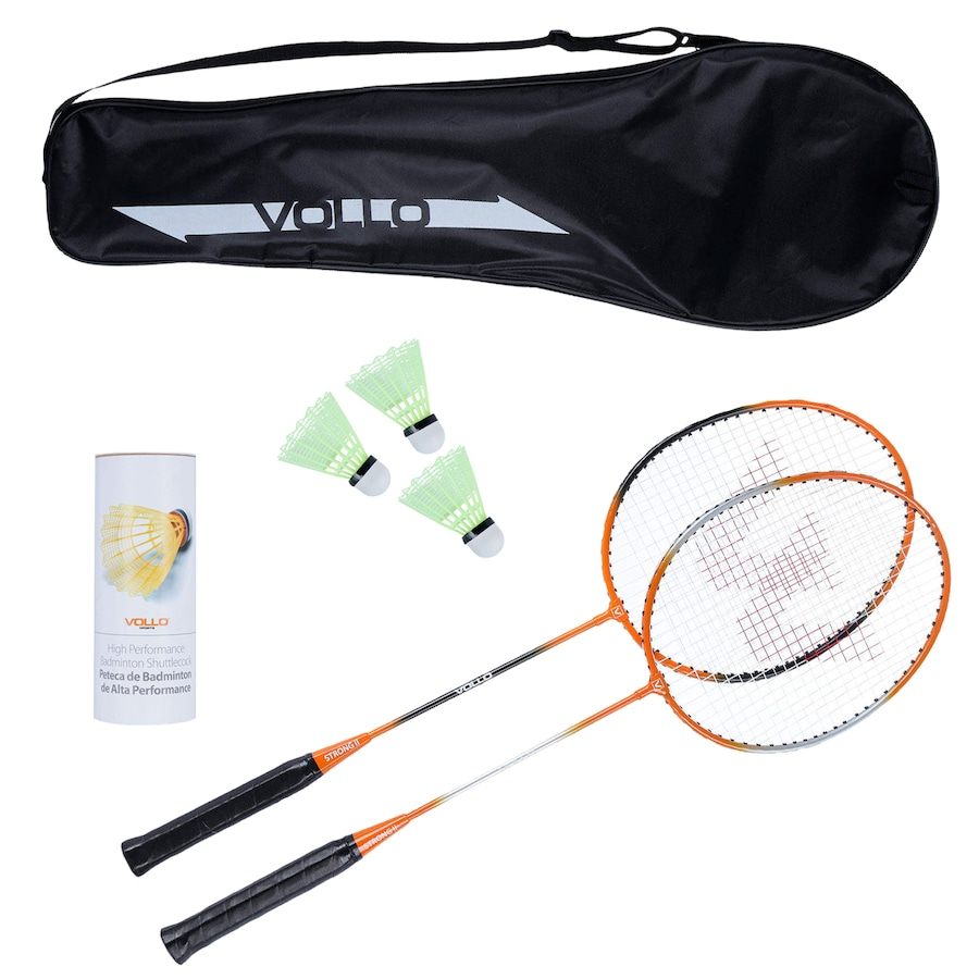 Kit Badminton Vollo Sports VB002 com 2 Raquetes, 3 Petecas e Raqueteira