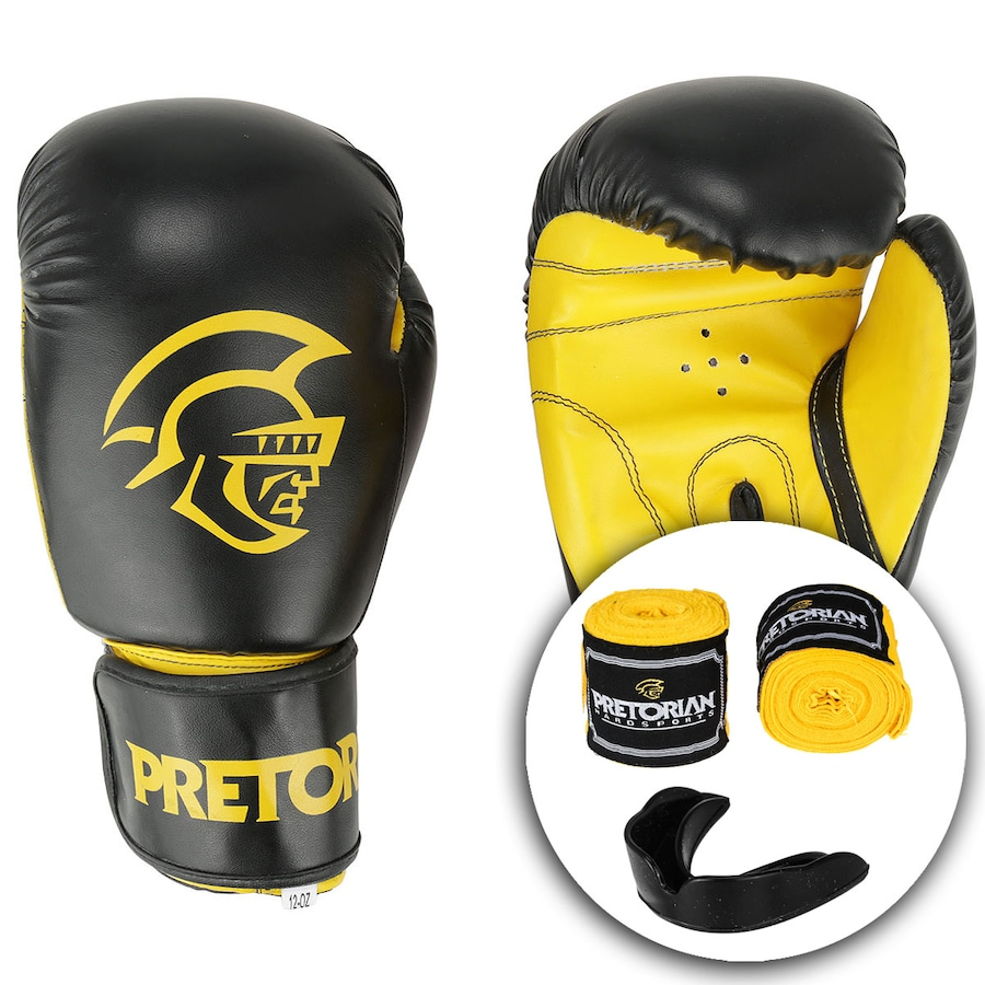 79661578d Kit de Boxe Pretorian  Bandagem + Protetor Bucal + Luvas de Boxe First - 12  OZ - Adulto