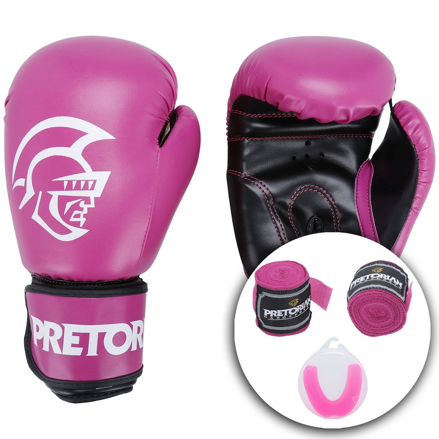 b0b49cd5a Kit de Boxe Pretorian  Bandagem + Protetor Bucal + Luvas de Boxe First - 10  OZ - Adulto
