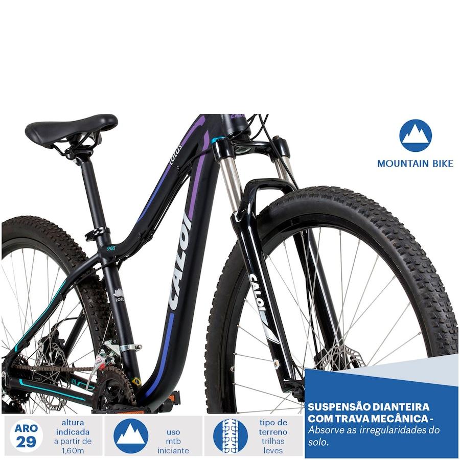 872cb85e0 Mountain Bike Caloi Lotus - Aro 29 - Freio a Disco - 21 Marchas - Feminina