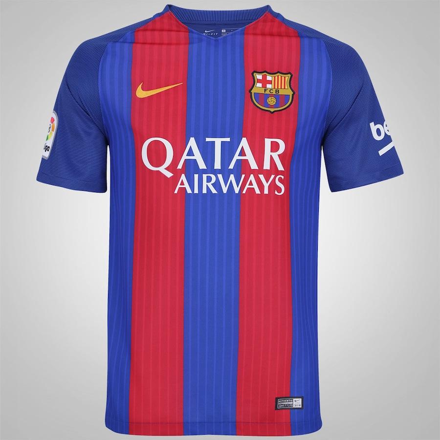 7a889c4a2e154 Camisa Barcelona I 16 17 Nike com Patrocínio - Masculina