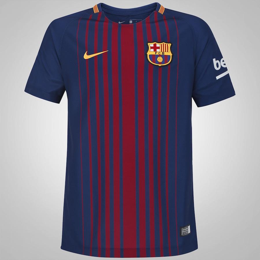 Camisa Barcelona I 17 18 Nike - Infantil c228bfe6e2213