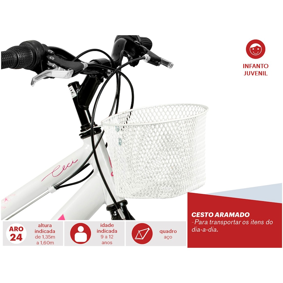 Bicicleta Caloi Ceci - Aro 24 - Freio V-Brake - 21 Marchas - Feminina -  Infantil 3dd76c2f5b7c3
