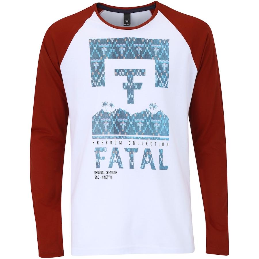 ebd317d4d Camiseta Manga Longa Fatal Estampada Raglan 15290 Masculina