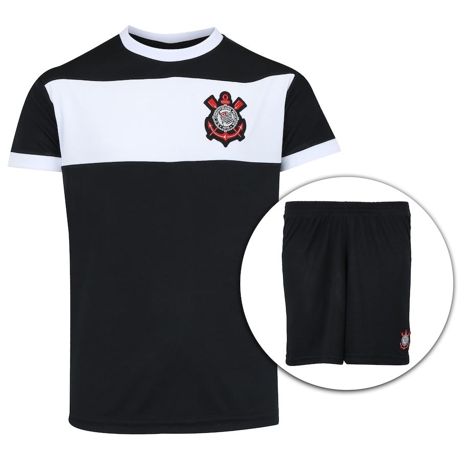 d7dec539dd5f2 Kit de Uniforme de Futebol do Corinthians com Calção e Cami