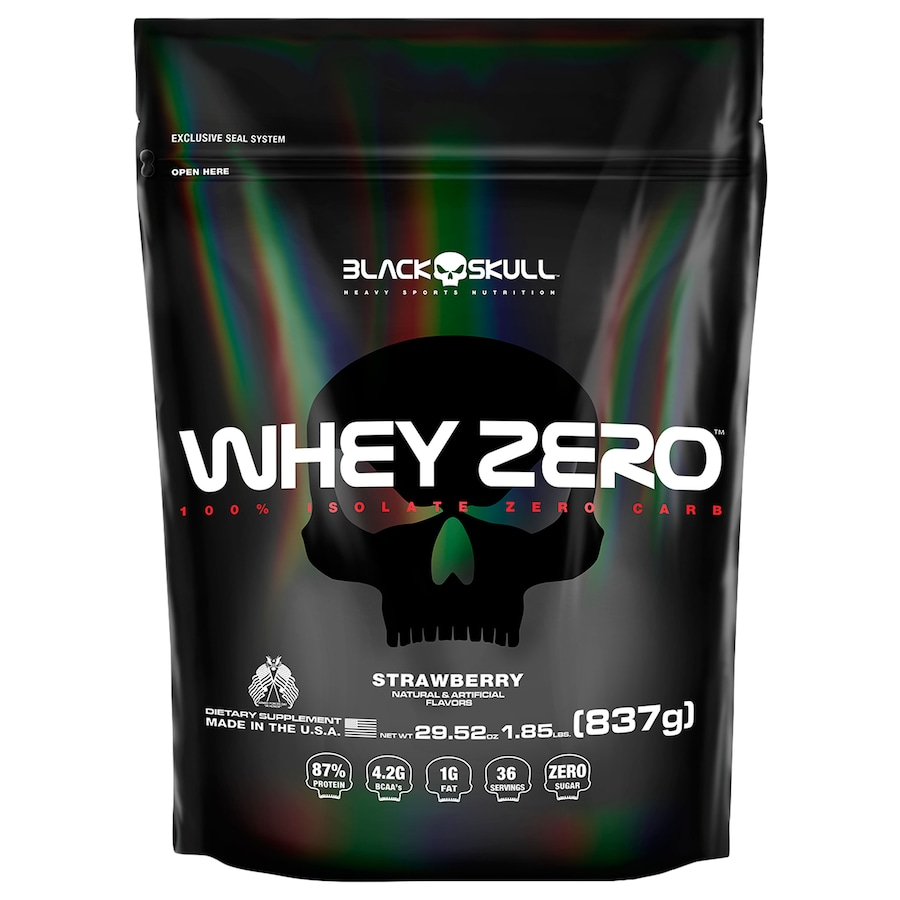 Whey Protein Black Skull Morango ISO Zero Refil - 837g