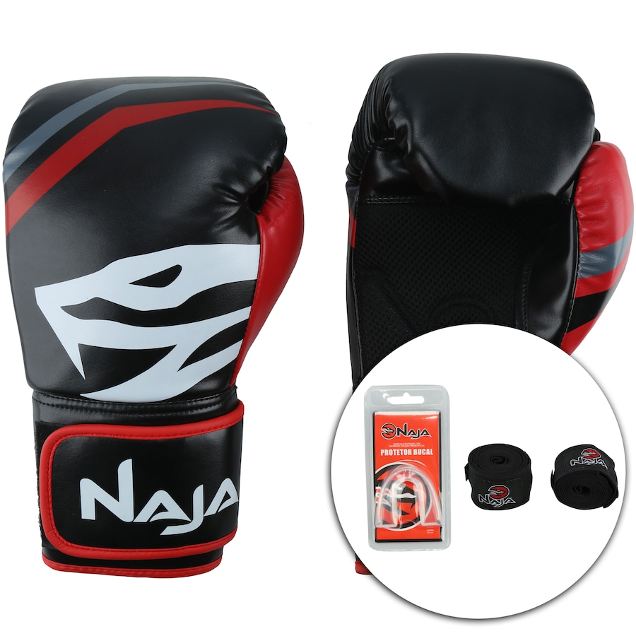 50258a357 Kit de Boxe Naja  Bandagem + Protetor Bucal + Luvas de Boxe First - 12 OZ -  Adulto