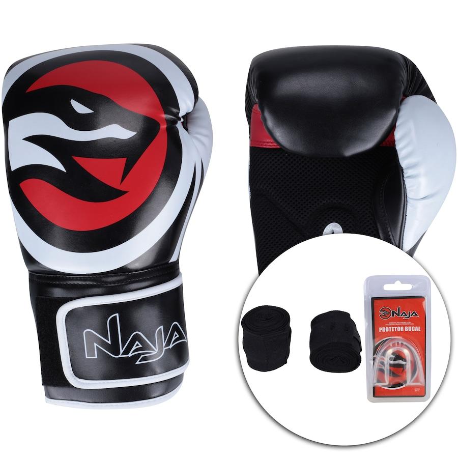 070055cd1 Kit de Boxe Naja  Bandagem + Protetor Bucal + Luvas de Boxe OPP - 16 ...