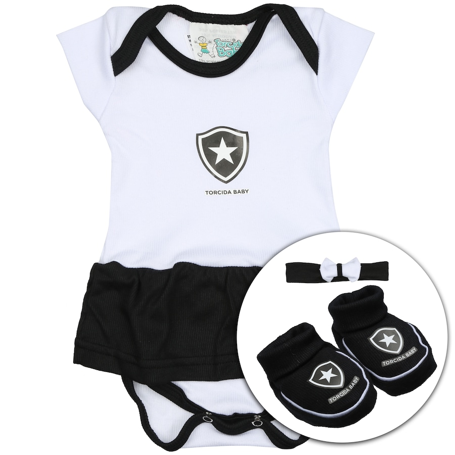 795eb5d9ee Kit Uniforme Futebol Botafogo para Bebê  Body + Pantufa + L