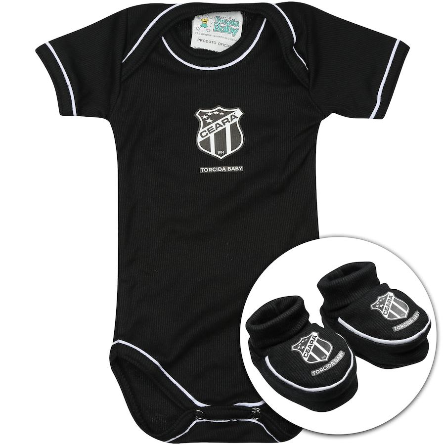 f143d0b3b5 Kit Uniforme Futebol Ceará para Bebê  Body + Pantufa