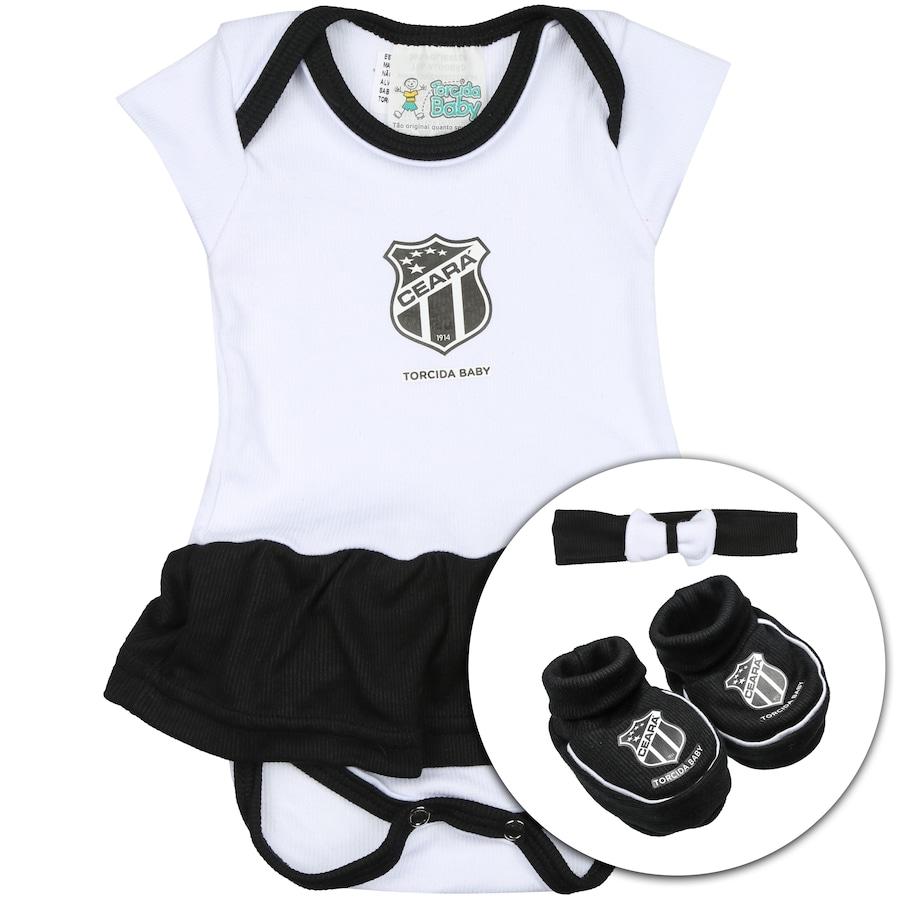 30b4d142a5 Kit Uniforme Futebol Ceará para Bebê  Body + Pantufa + Laci