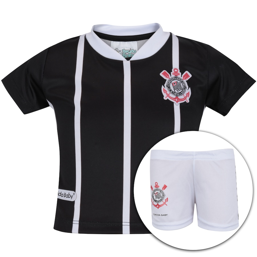 Kit Uniforme Futebol Corinthians para Bebê - Infantil bed20dda8cb34
