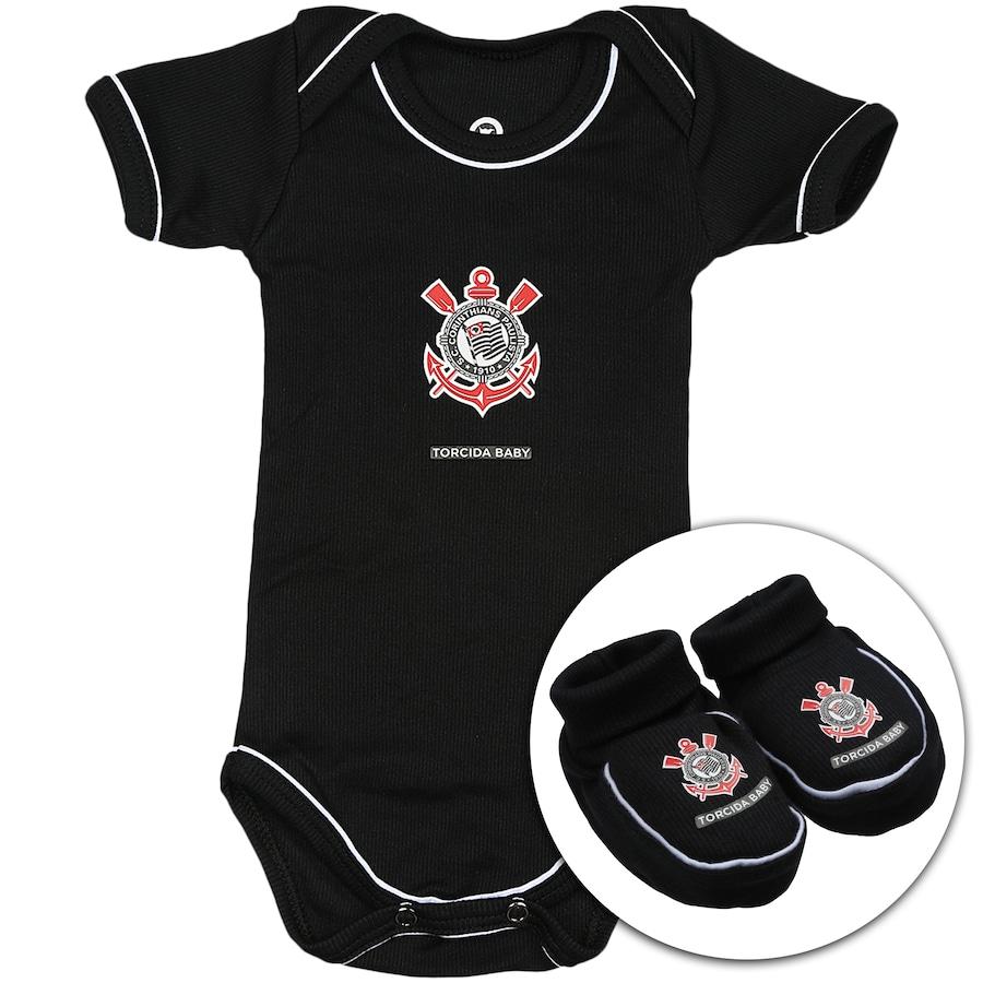 ed411513f Kit Uniforme Futebol Corinthians para Bebê: Body + Pantufa