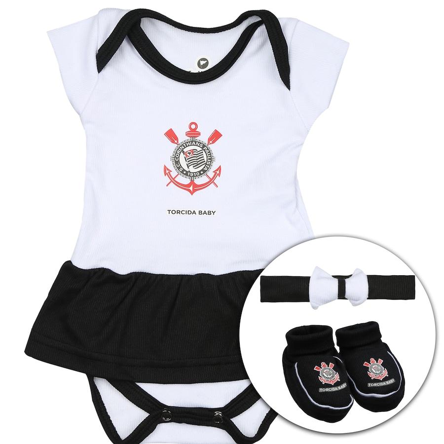 e9c1bce83b Kit Uniforme Futebol Corinthians para Bebê  Body + Pantufa