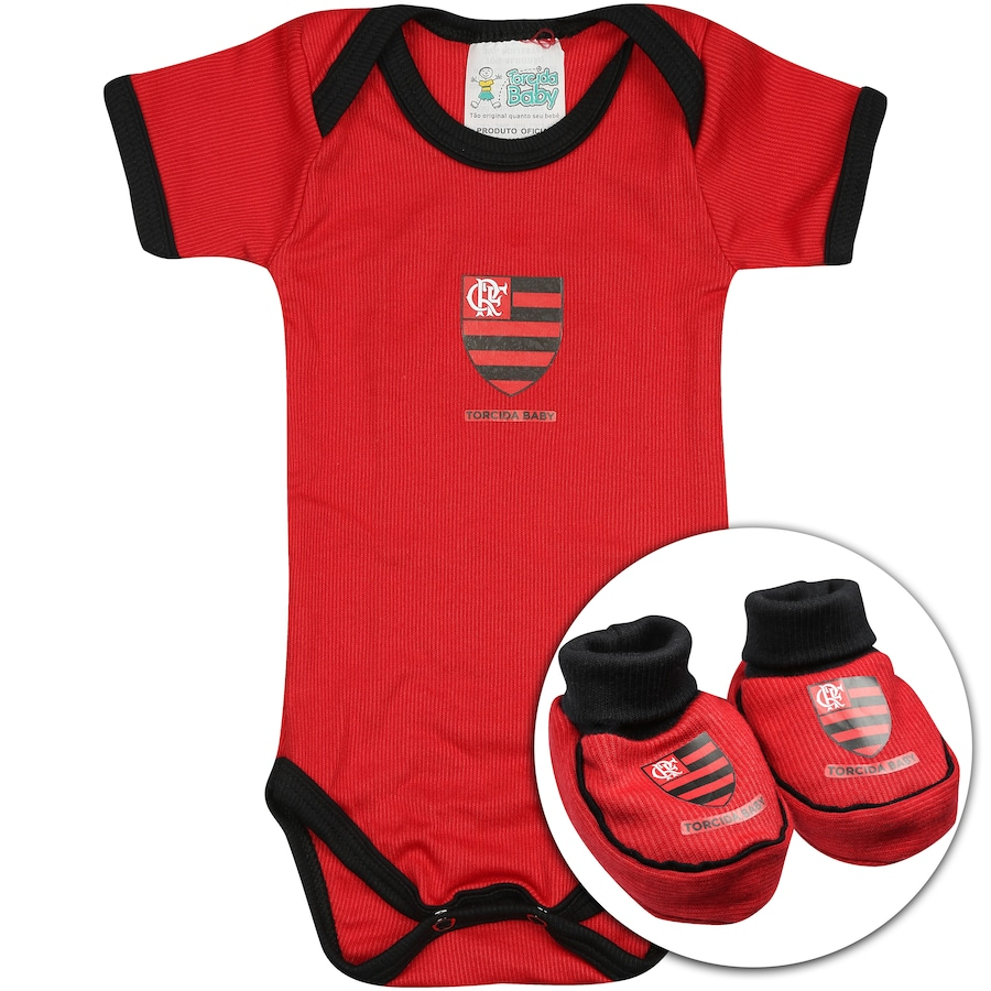 ab16c5391a Kit Uniforme Futebol Flamengo para Bebê  Body + Pantufa