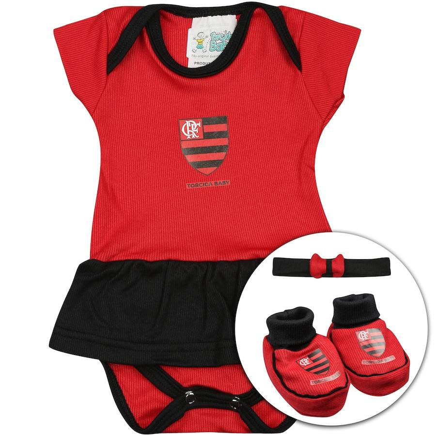 31ab1a83c9b05 Kit de Uniforme de Futebol do Flamengo para Bebê  Body + Pantufa + Lacinho  Feminino ...