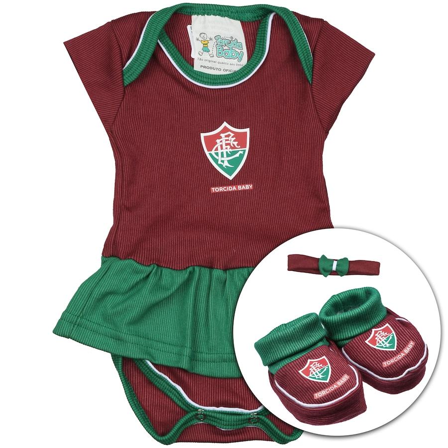 Kit Uniforme Futebol Fluminense para Bebê  Body + Pantufa + c05448054c4a7