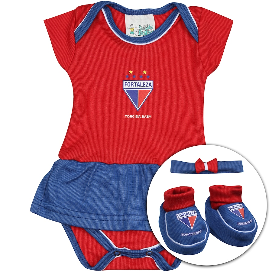 885126f33e Kit Uniforme Futebol Fortaleza para Bebê  Body + Pantufa +