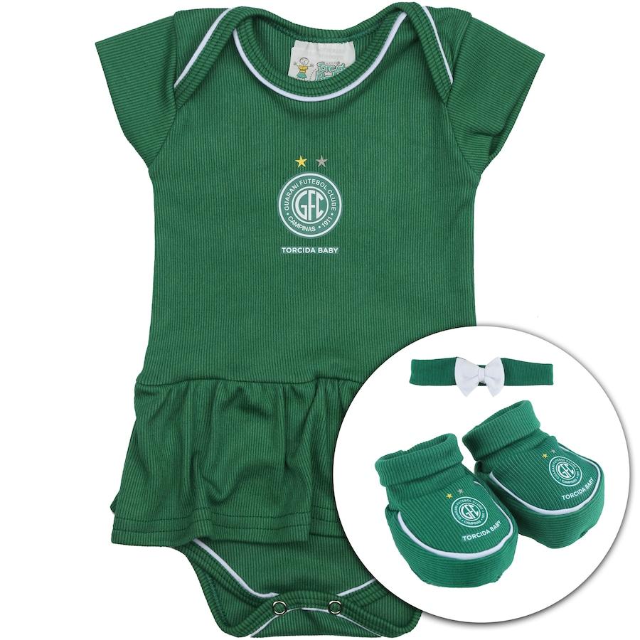 bebed5f498 Kit Uniforme Futebol Guarani para Bebê  Body + Pantufa + La