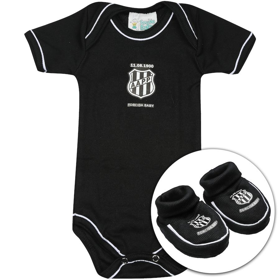 Kit Uniforme Futebol Ponte Preta para Bebê  Body + Pantufa 2b5633d6007fb