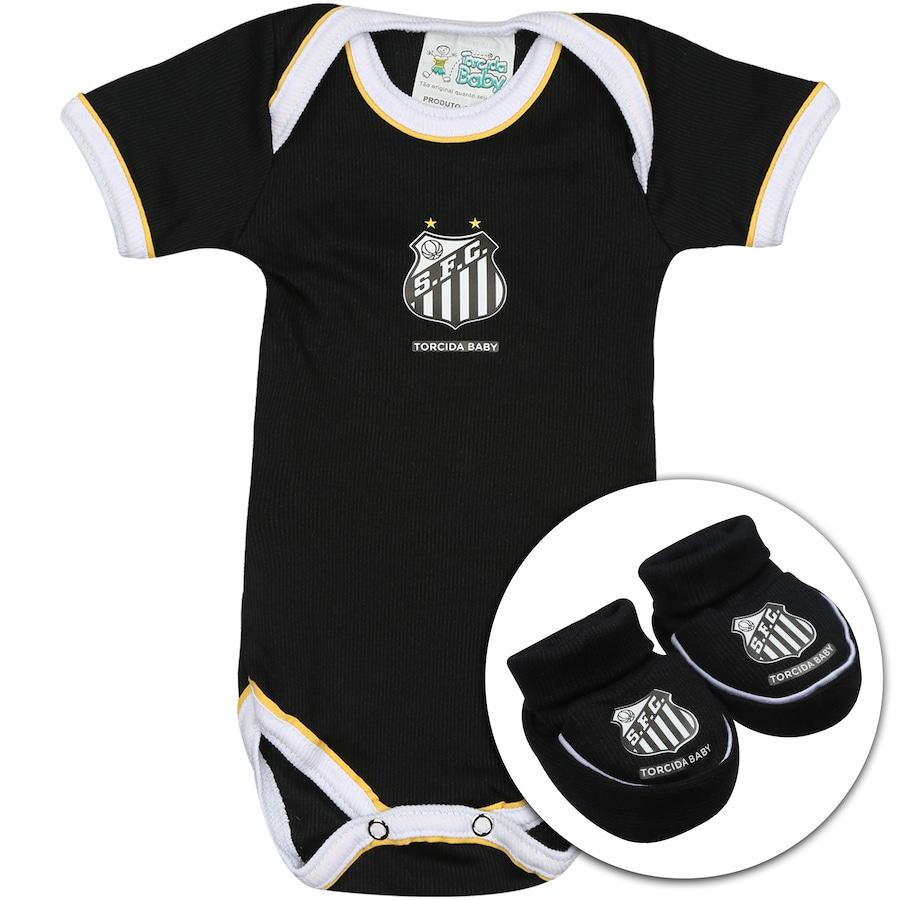 Kit Uniforme Futebol Santos para Bebê  Body + Pantufa 97cd5a51a3d89