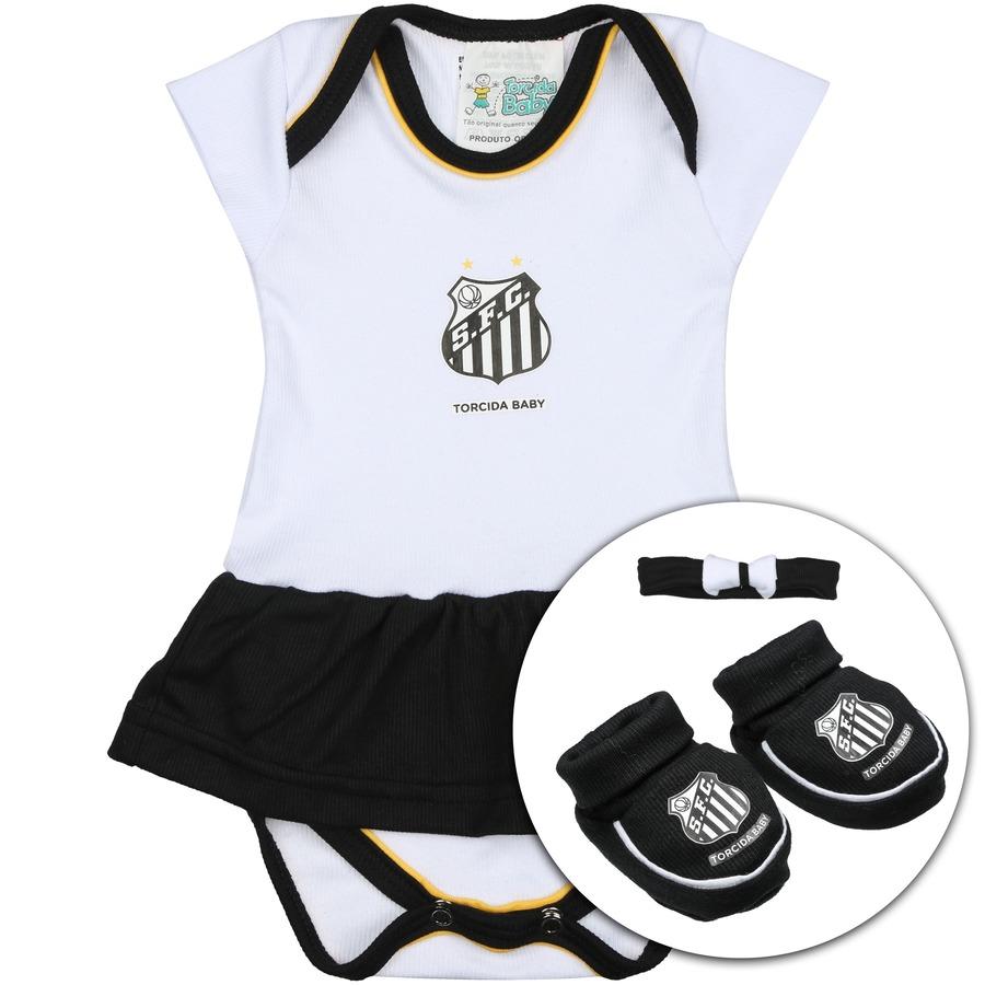 c36f66fc2f Kit Uniforme Futebol Santos para Bebê  Body + Pantufa + Lac