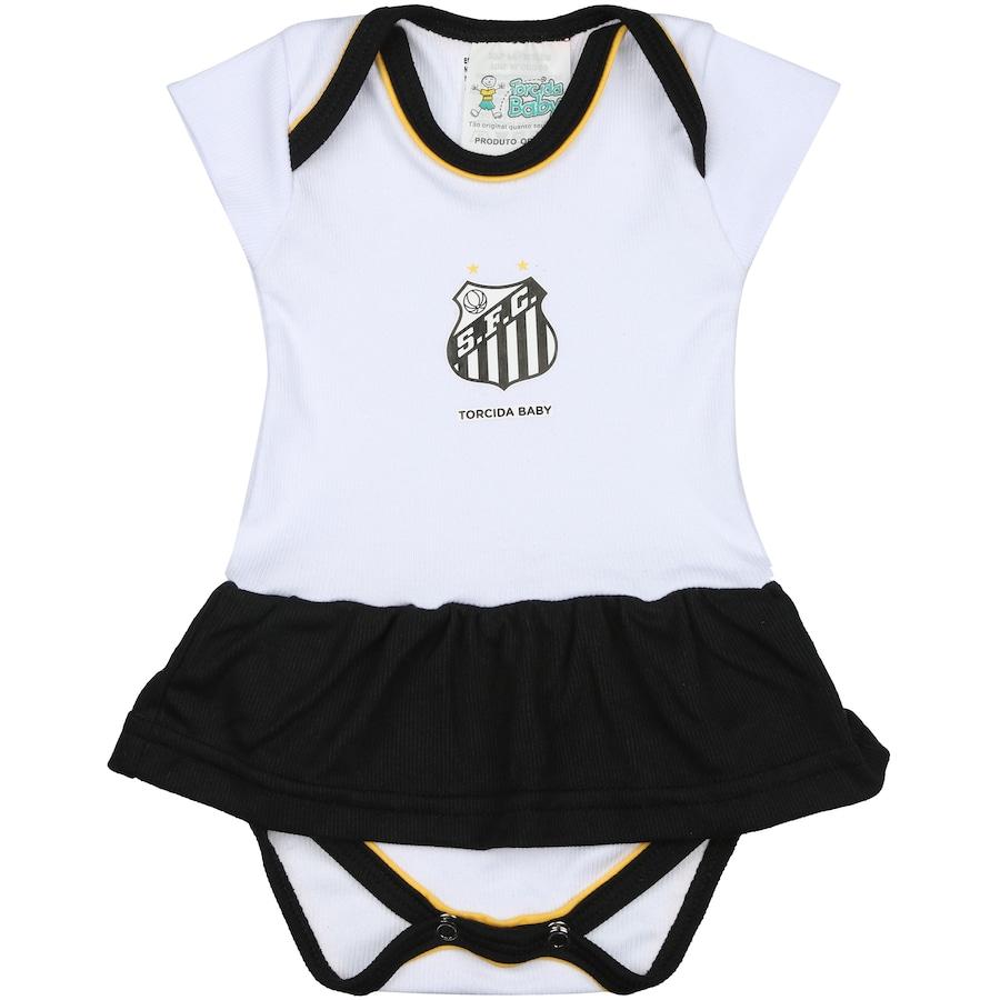 d9d9747b32 ... Kit de Uniforme de Futebol do Santos para Bebê  Body + Pantufa +  Lacinho Feminino ...
