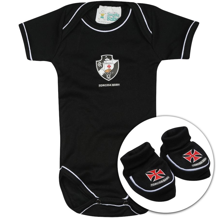 573100c2e4 Kit Uniforme Futebol Vasco da Gama para Bebê  Body + Pantuf