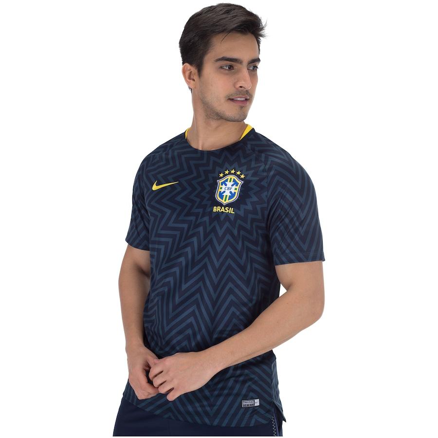 Camisa Pré-Jogo da Seleção Brasileira 2018 Nike - Masculina 16deefacd663f