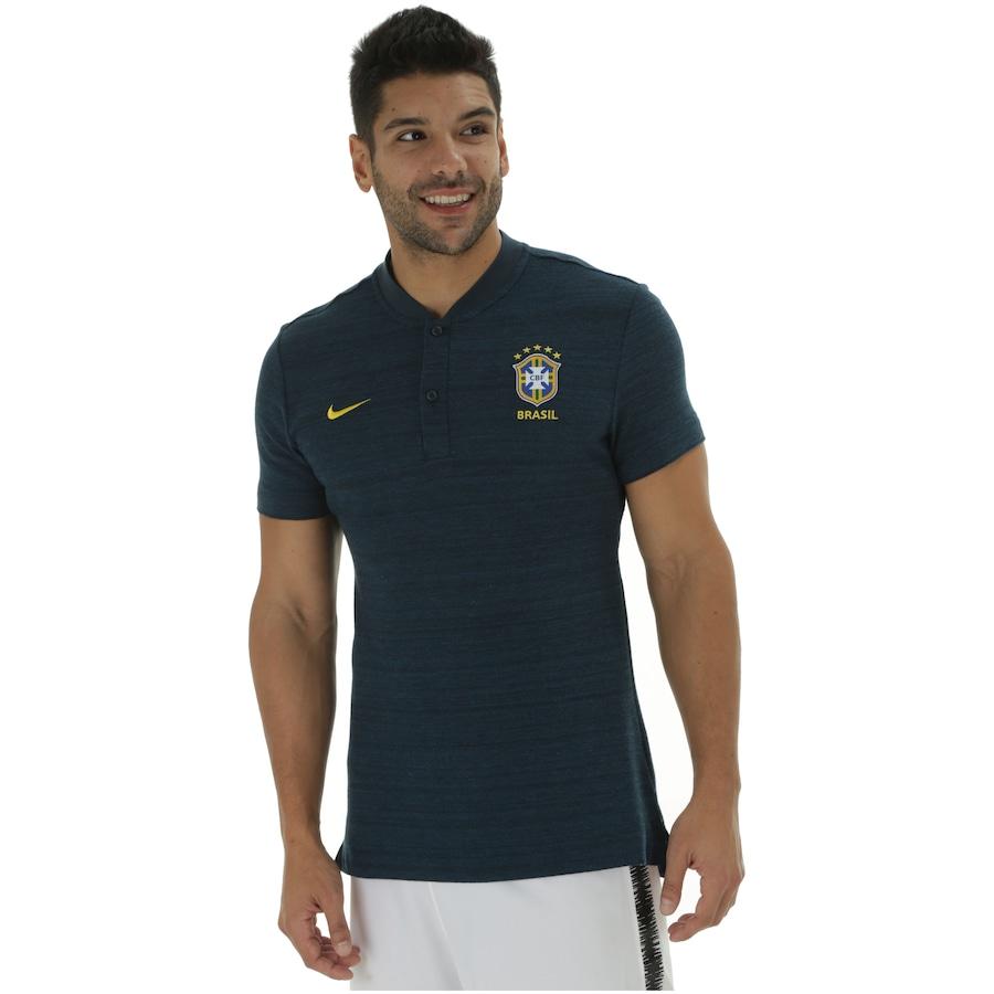 e05fe98a25 Camisa Polo da Seleção Brasileira 2018 Nike Pique - Masculina