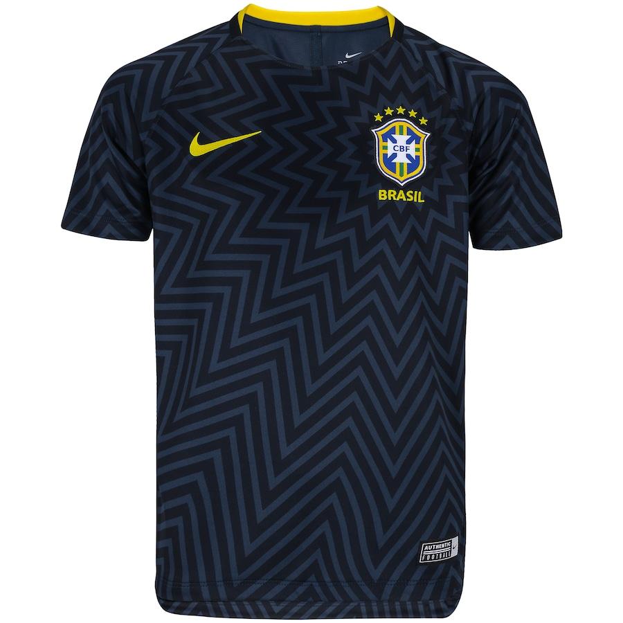 Camisa Pré-Jogo da Seleção Brasileira 2018 Nike - Juvenil 237137cb4f5ce