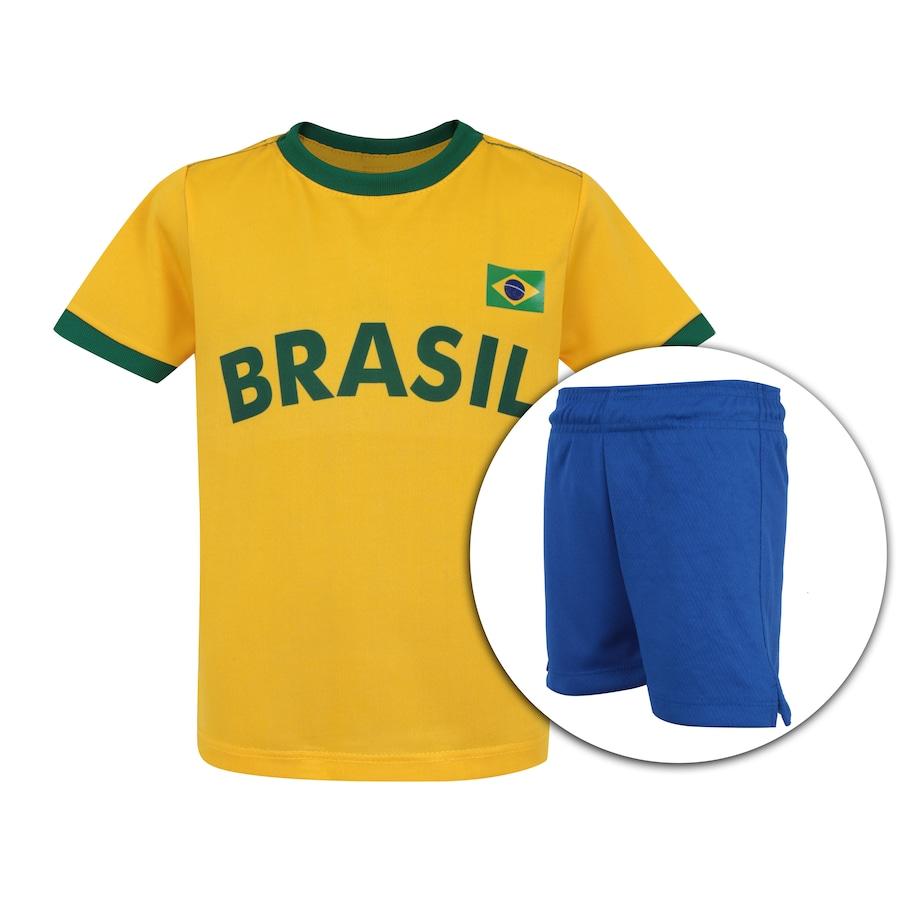 95a865b31 Kit de Uniforme de Futebol do Brasil 2018 Adams 01  Camisa + Calção -  Infantil