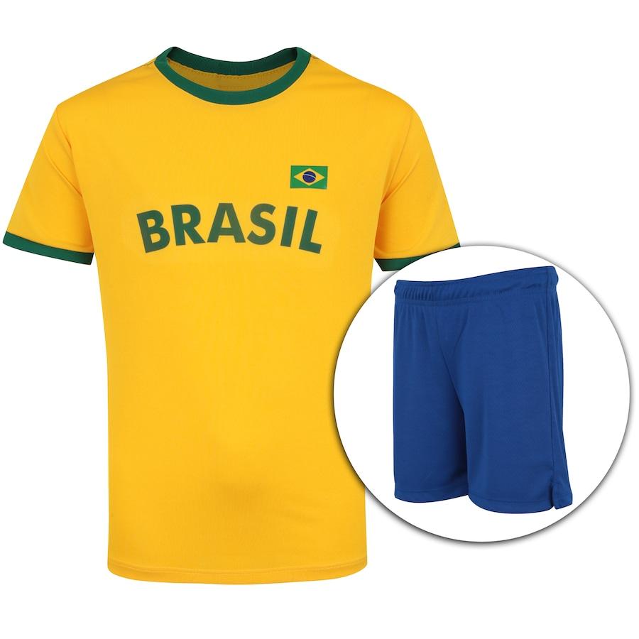dbea25bddb Kit de Uniforme de Futebol do Brasil 2018 Adams  Camisa + Calção - Infantil