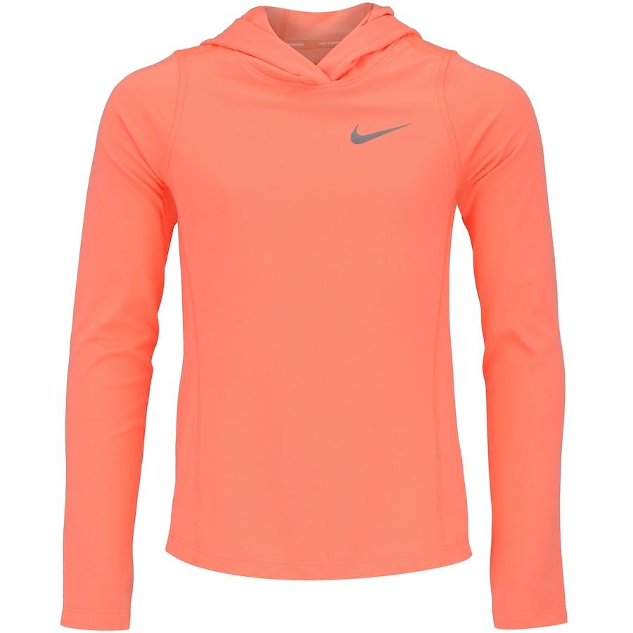 52a3e218ae0f1 Camiseta Manga Longa com Capuz Nike Top LS Run Core Feminina - Infantil
