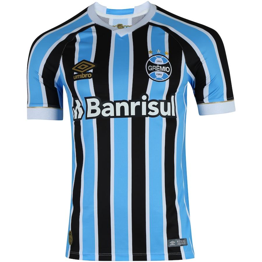 Camisa do Grêmio I 2018 Umbro com Patrocínio - Masculina 0c54ebea4f428