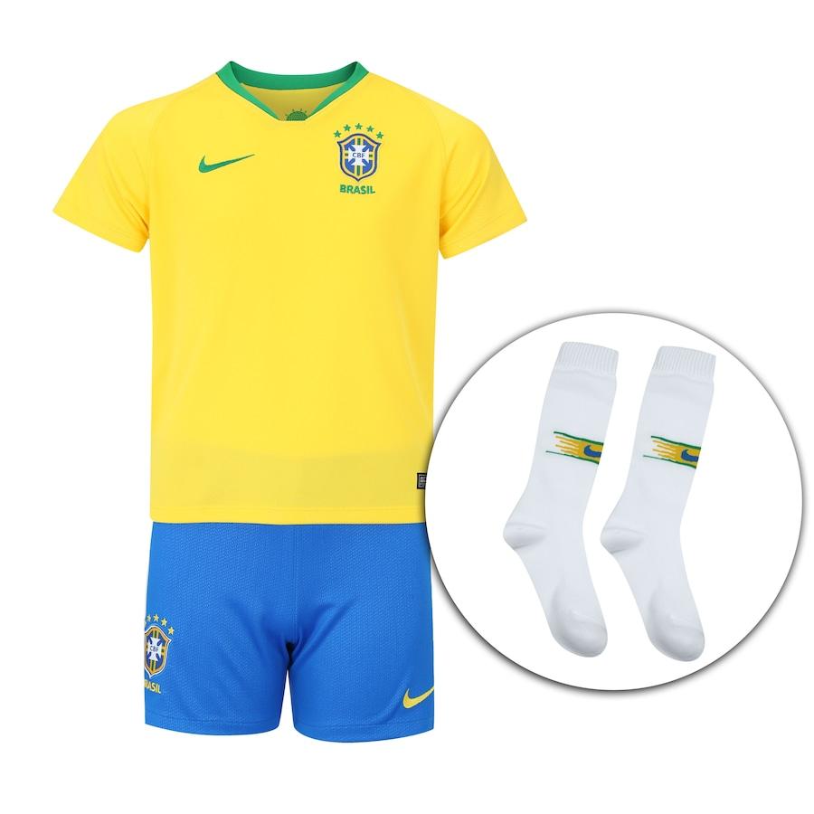Kit de Uniforme de Futebol da Seleção Brasileira I 2018 Nike  Camisa +  Calção + Meião - Juvenil 5e66bbe77769a