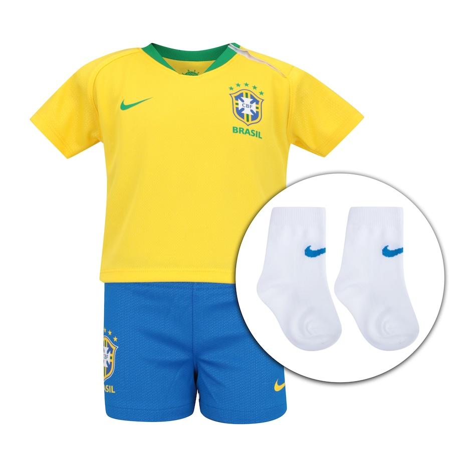 Kit Bebê Uniforme de Futebol da Seleção Brasileira I 2018 Nike  Camisa +  Calção + Meião - Infantil 3b669bf9a1107