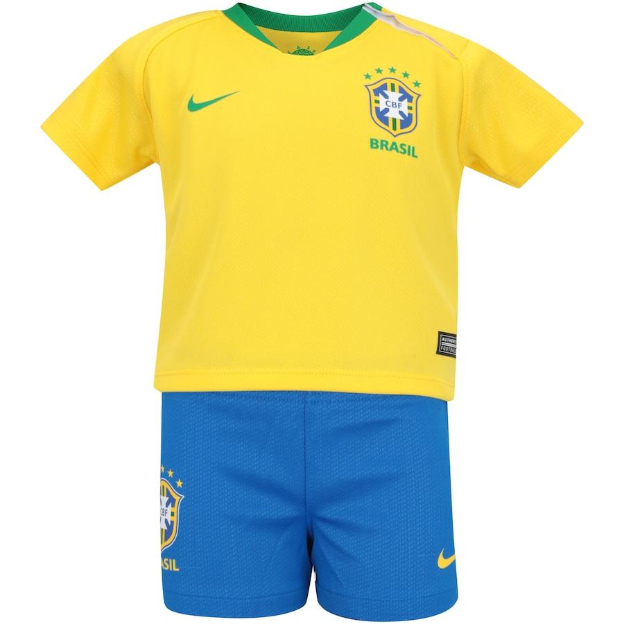 dd23411c02 Kit Bebê Uniforme de Futebol da Seleção Brasileira I 2018 Nike  Camisa +  Calção + Meião - Infantil