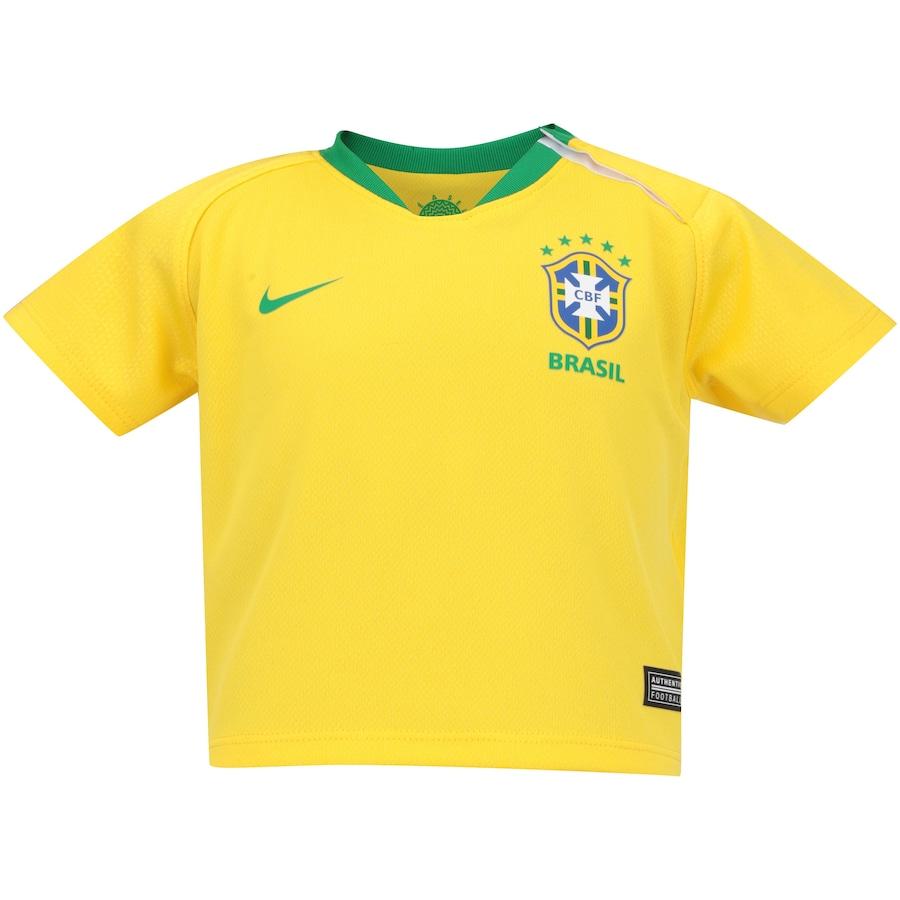 Kit Bebê Uniforme de Futebol da Seleção Brasileira I 2018 Nike  Camisa +  Calção + Meião - Infantil d1bdc3a1609
