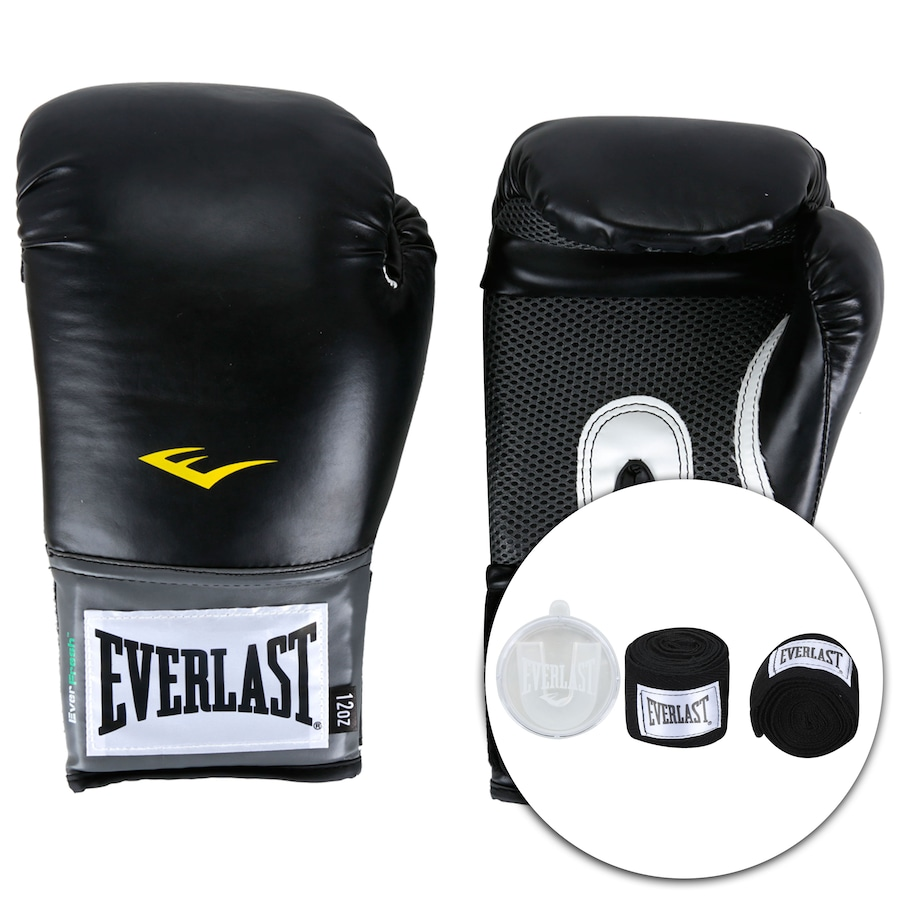 68e53d603 Kit de Boxe Everlast  Bandagem + Protetor Bucal + Luvas de Boxe Training -  12 OZ - Adulto