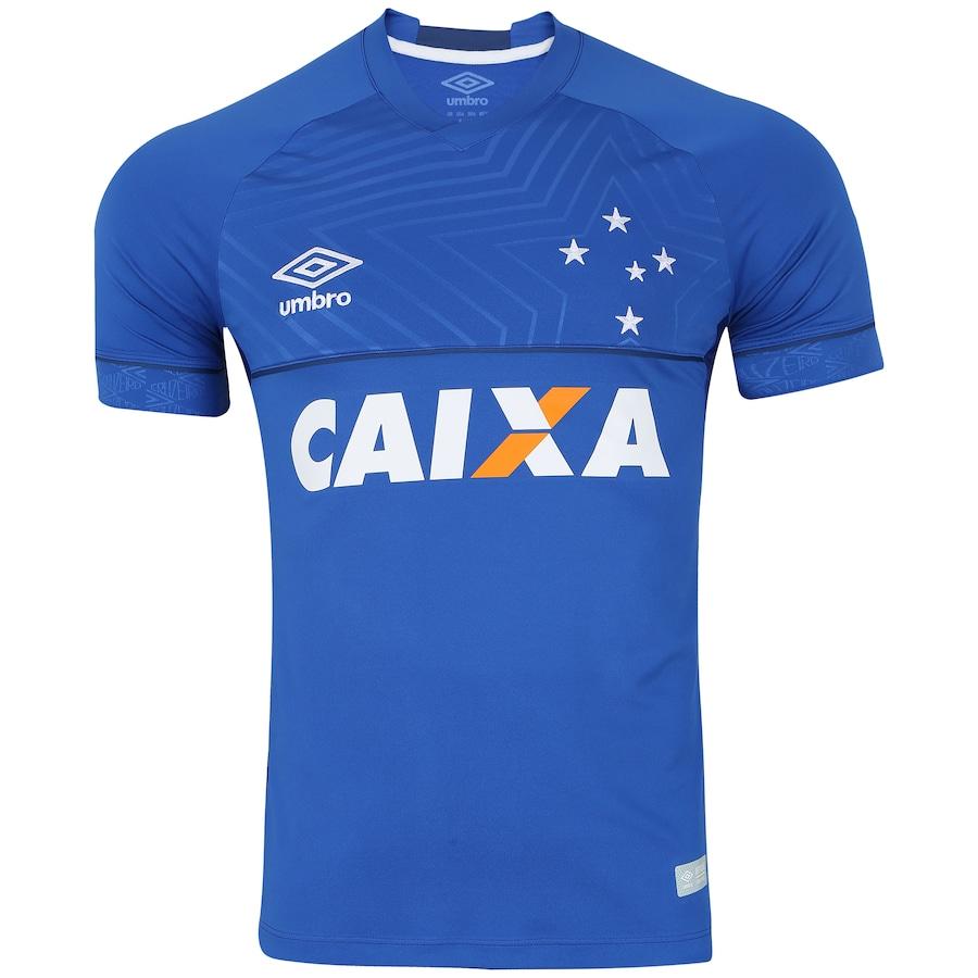 Camisa do Cruzeiro I 2018 Umbro com Patrocínio - Masculina b958e01446f66