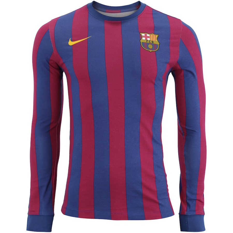 Camiseta Manga Longa Barcelona Retrô Nike - Masculina 1ece3d25a4539