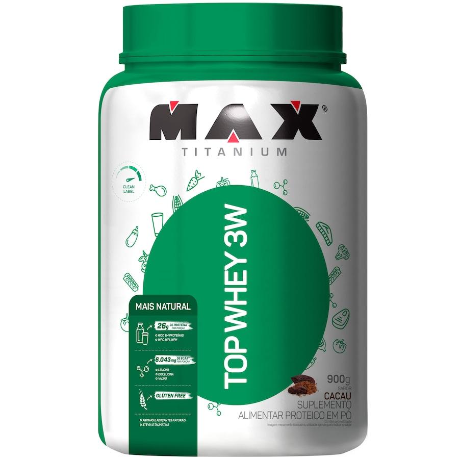 Whey Protein Max Titanium Cacau Top 3W Mais Natural - 900g